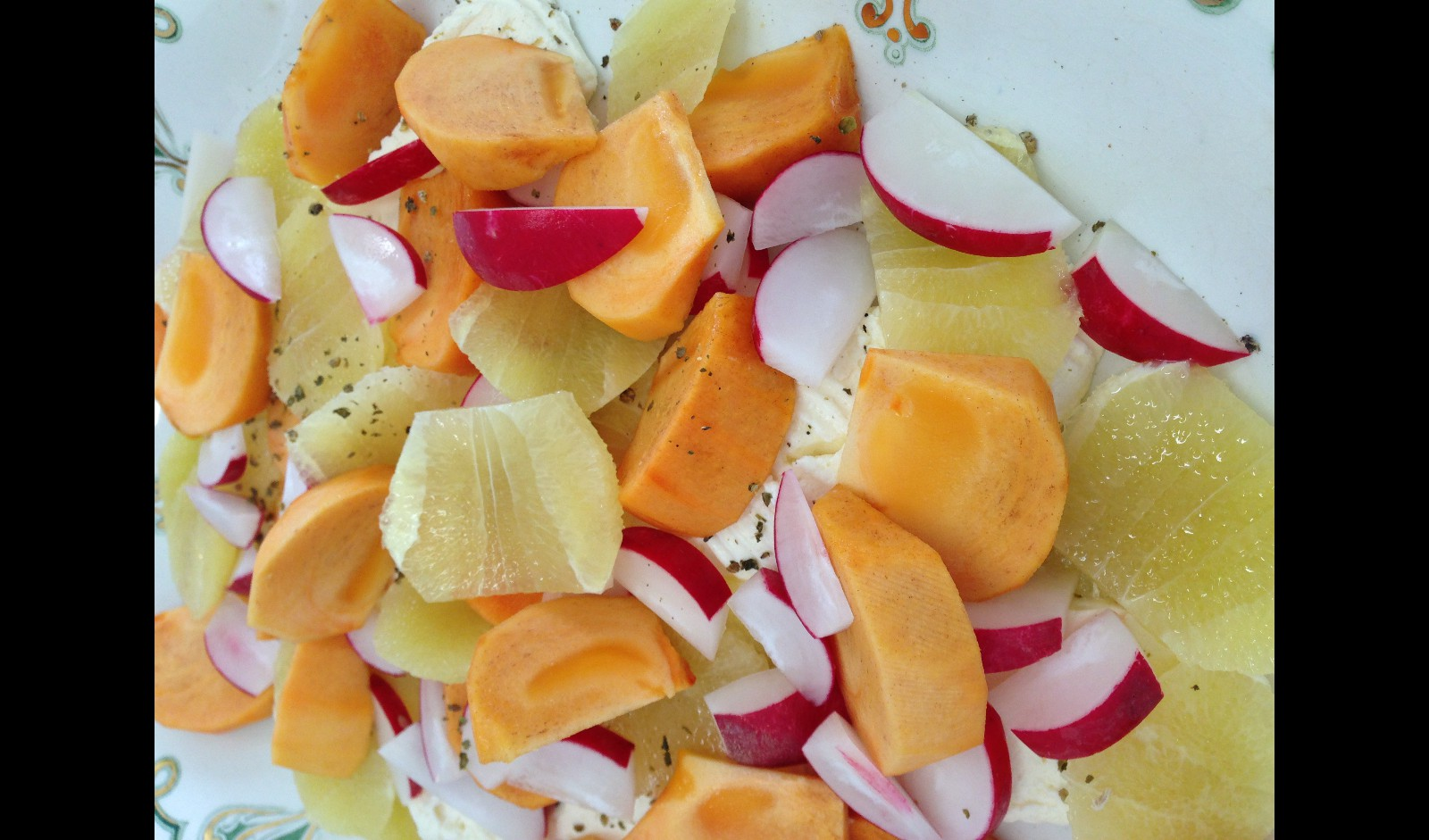 Fresh Cheese, Persimmon, Grapefruit, Radish - no recipe required!